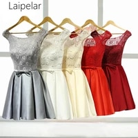laipelar new 2020 short red lace even ing dresses grey flower customize ruffles lace up bow even ing dresses little white dress