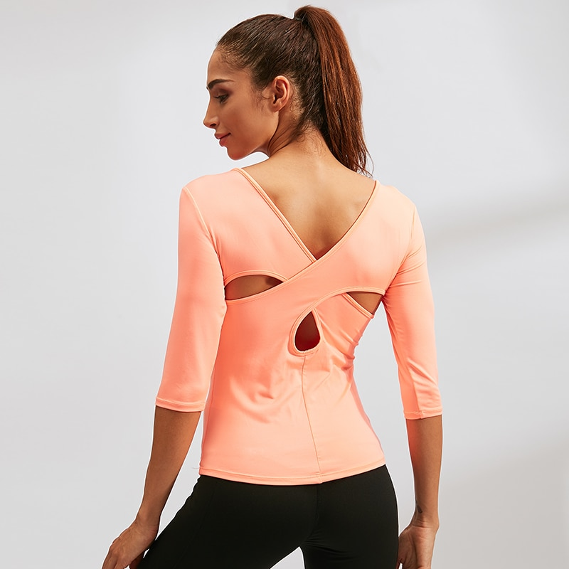 Yoga Shirt Fitness Sport Shirt Dance Tight Clothes Quick Dry Top Cross Back Mid Long Sleeve Workout Sportswear Yoga Suit Tops