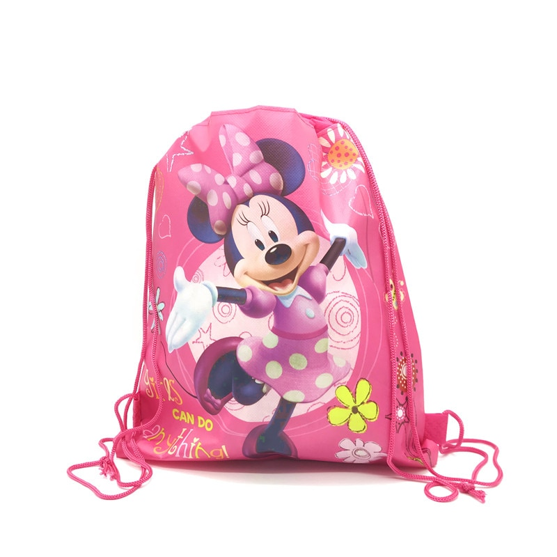 1pcs High Quality Mickey&Minnie Drawstring Bags Kid Favor Cotton Travel Pouch Storage Clothes Shoes