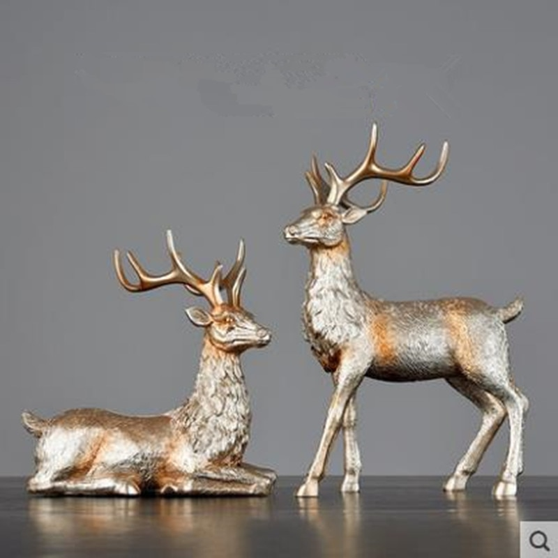 2020 European-style Christmas elk crafts, animal statue artwork, creative home office desk decoration gifts,