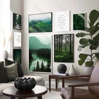 canvas painting poster print natural landscape mountain river forest and inspirational quotes for home rooms wall decoration