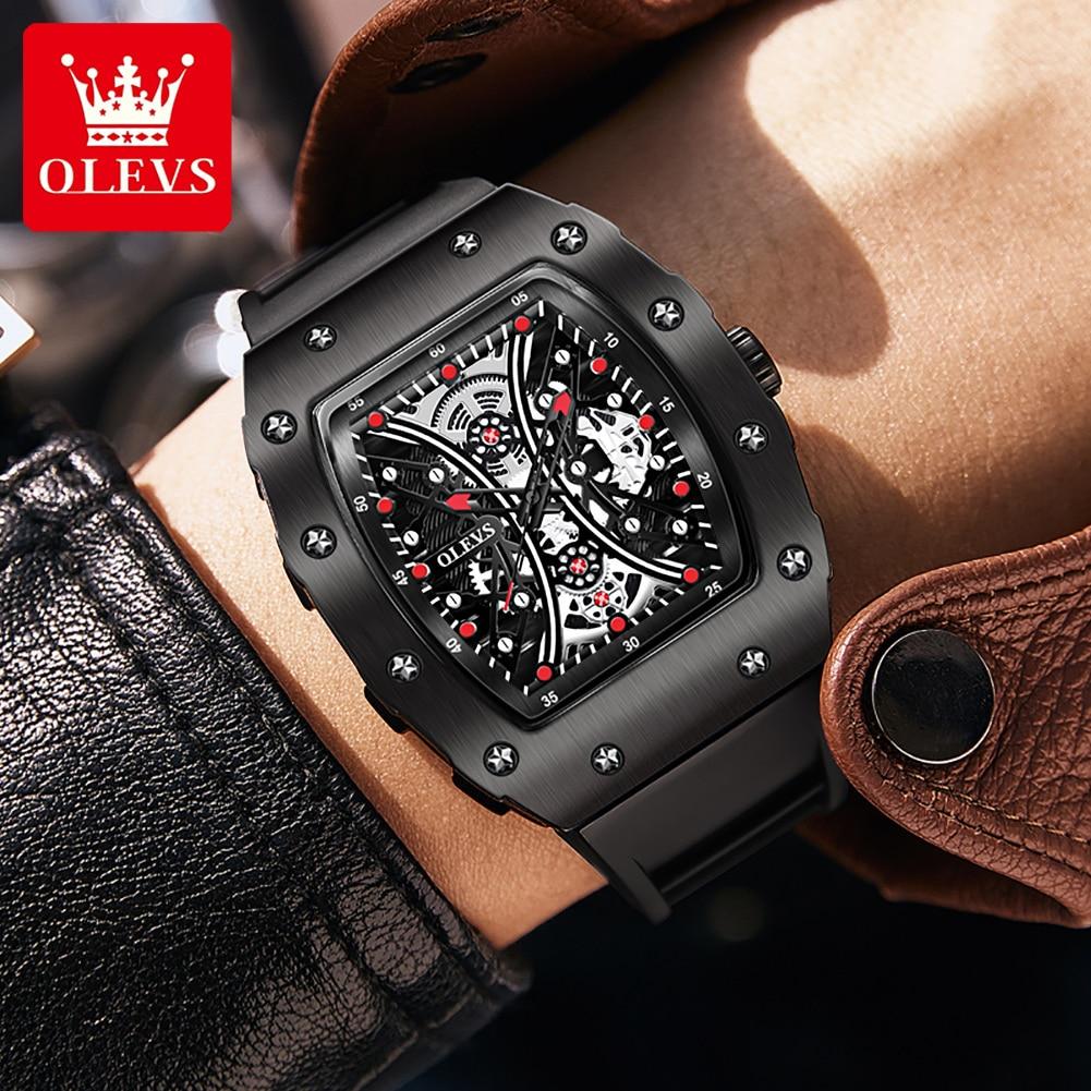 OLEVS Reloj Deportivo Hombre Sport Men's Quartz Watches Waterproof Rubber Strap Fashion Fitness Watch For Men Clock Dropshipping