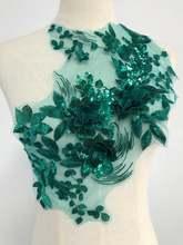 Темно-зеленая вышивка с блестками, 3D Цветочная Кружевная аппликация, отделка платья, материал для рукоделия, для свадьбы, кружева