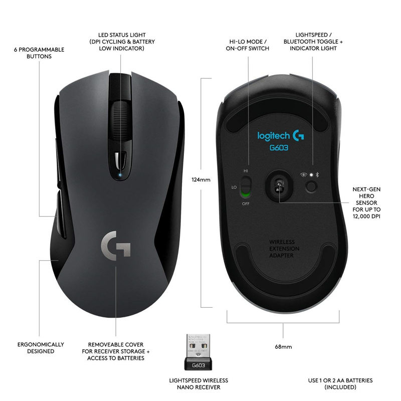 Logitech G603 lightspeed wireless optical gaming mouse 12000DPI for mouse gamer Bluetooth Mouse Dual Connectivity Mouse enlarge