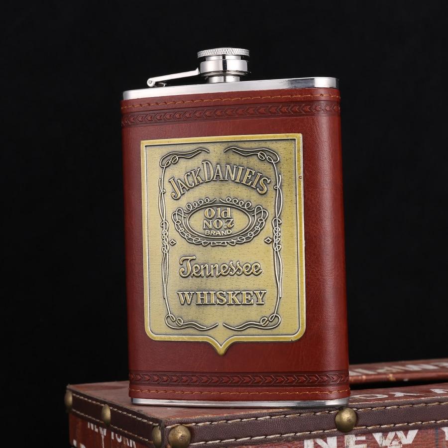 Frasco portátil de cuero personalizado para hombres, frasco Retro para cerveza, whisky,...