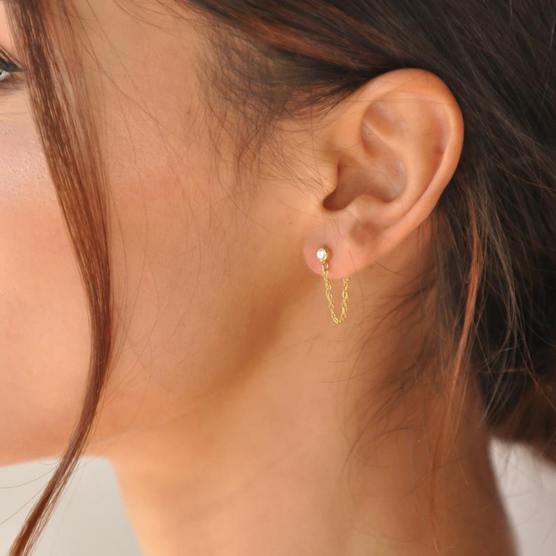 Pendientes Laramoi de moda para mujer, cadena circular, boda, fiesta, Navidad, regalo geométrico acero inoxidable, pendientes, joyería