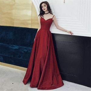 Evening Dresses 2020 Satin Spaghetti Straps Sweetheart A-Line Long Prom Dress Burgundy Evening Gown ball gown dress new arrival