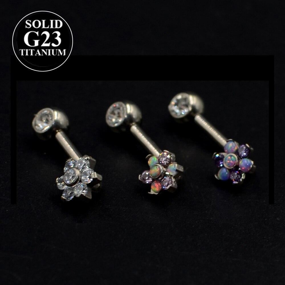 Piercings de titanio y ópalo con forma de flor con capucha Vertical de Christina, anillos para labios, Piercing para la Vagina atractiva para los genitales, joyería para cejas VCH 1 unidad