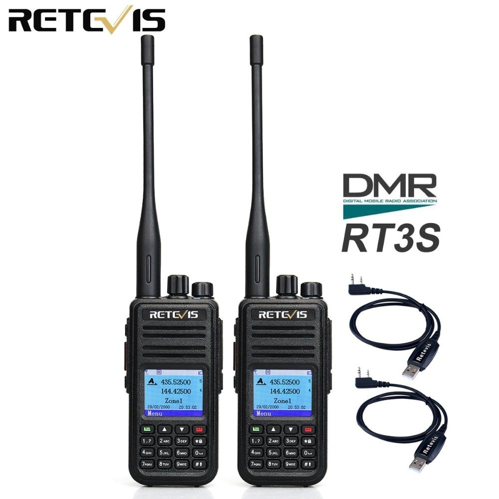 Двухдиапазонная цифровая рация Retevis RT3S, 2 шт., VHF, UHF, GPS, Ham, приемопередатчик, портативная двухсторонняя радиостанция