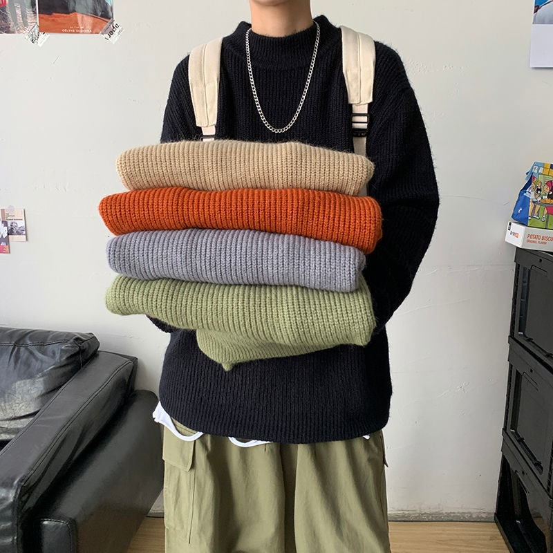Men's Solid Color Sweaters Woman Casual Oversize Pullovers Korean Streetwear Male Sweater Clothing