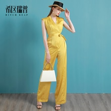 Vacation Jumpsuit Thin Wide Leg Pants European and American Fashion New High End Loose 's 2021 Summe