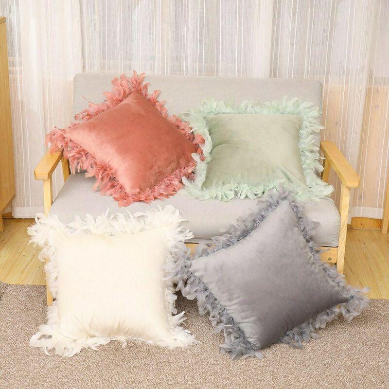 Fofo veludo pena macio sofá cadeira cama casa decorativa capa de almofada capa de almofada moda fronha travesseiros protetor