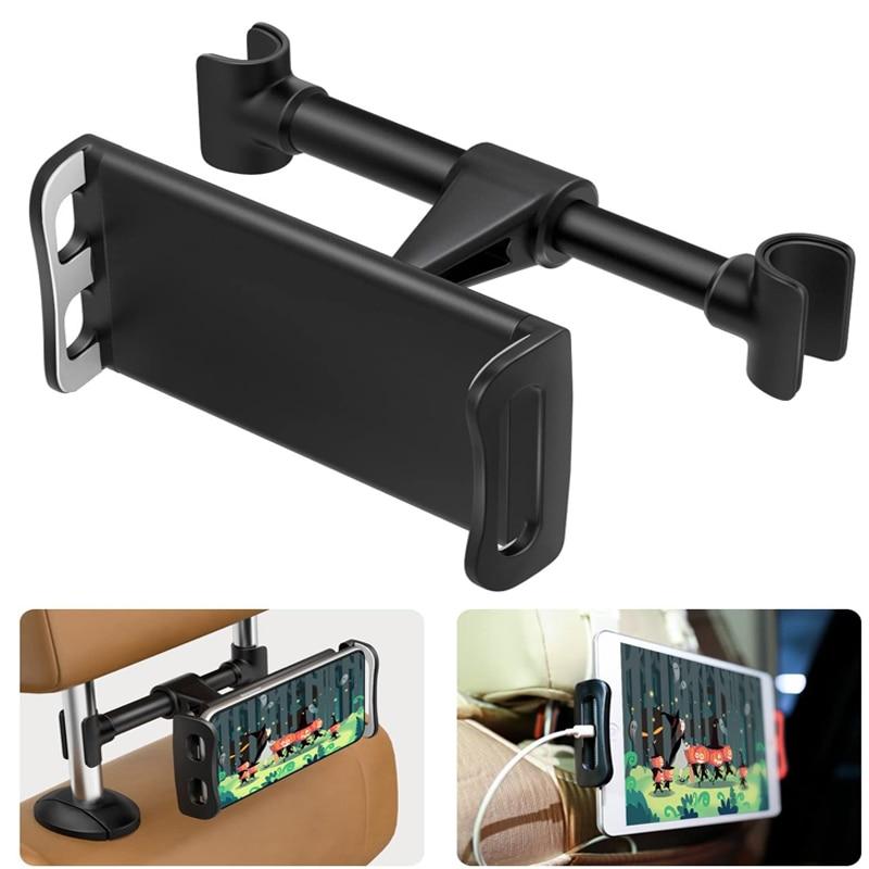 Soporte de teléfono para asiento trasero de coche de 360 grados, soporte giratorio para Tablet PC con reposacabezas automático, soporte de soporte para iPad iPhone, accesorios de montaje para coche