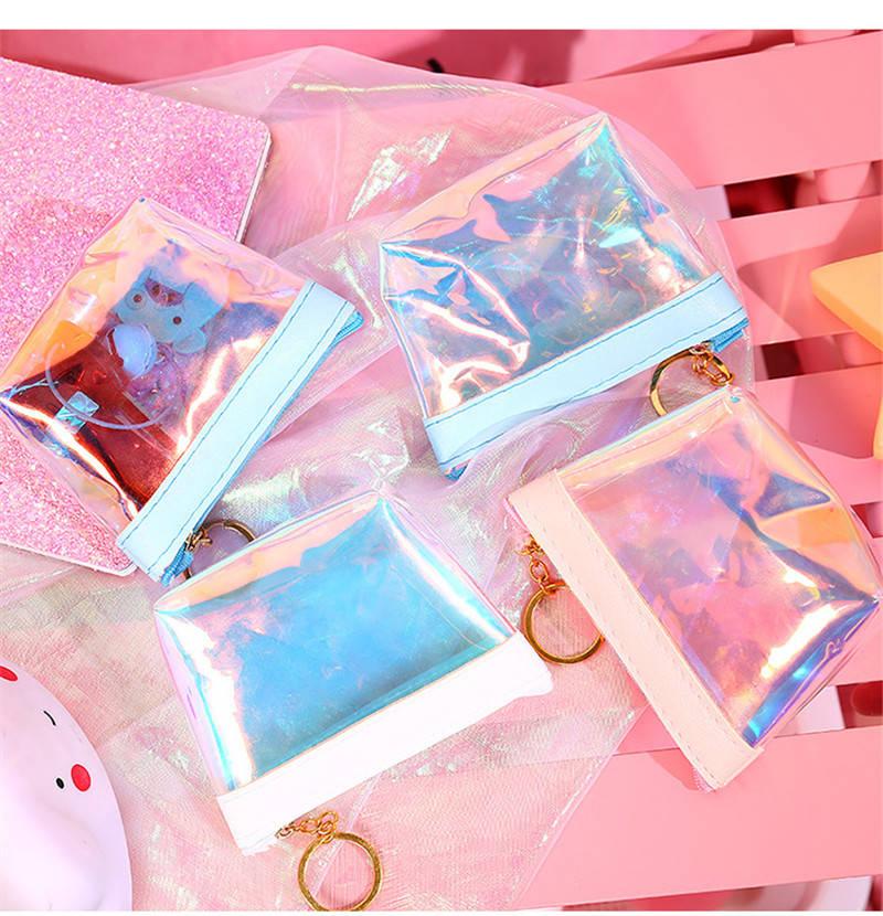 100 unids/lote monederos de monedas transparentes carteras de mujer pequeño y lindo tarjetero dinero Mini bolso chicas señoras monedero llavero CT0269