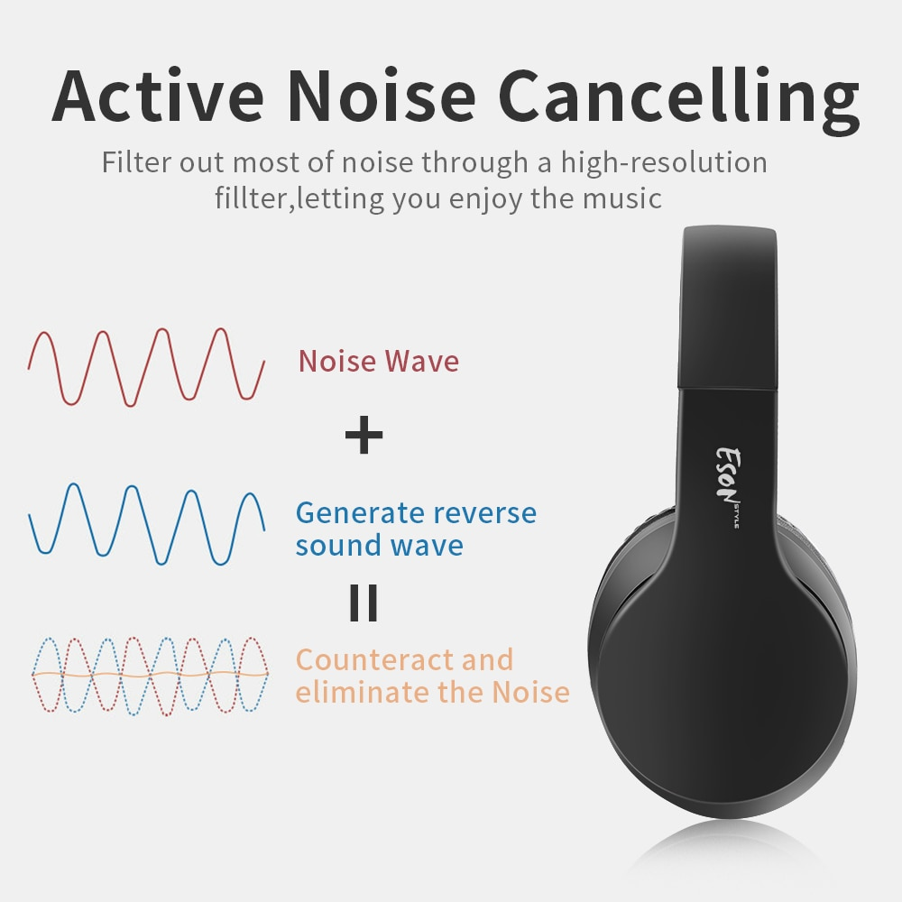 Eson style Over Ear Wireless Headphones Noise Reduce Bluetooth Headphones With Mic Passive Portable Foldable HiFi Stereo Headset enlarge