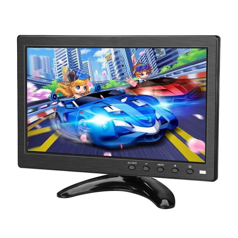 Monitor portátil 10,1 pulgadas LCD HD pantalla táctil ordenador PC pantalla de vídeo de 2 canales en Monitor de seguridad con altavoz HDMI VGA USB