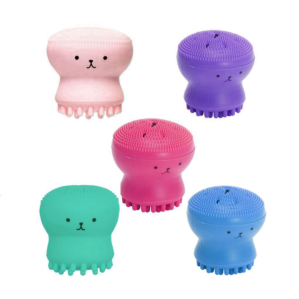 5Pcs/Pack Silicone Octopus Face Cleaner Mini Facial Deep Cleaning Washing Brush Cleaner Massager Bea