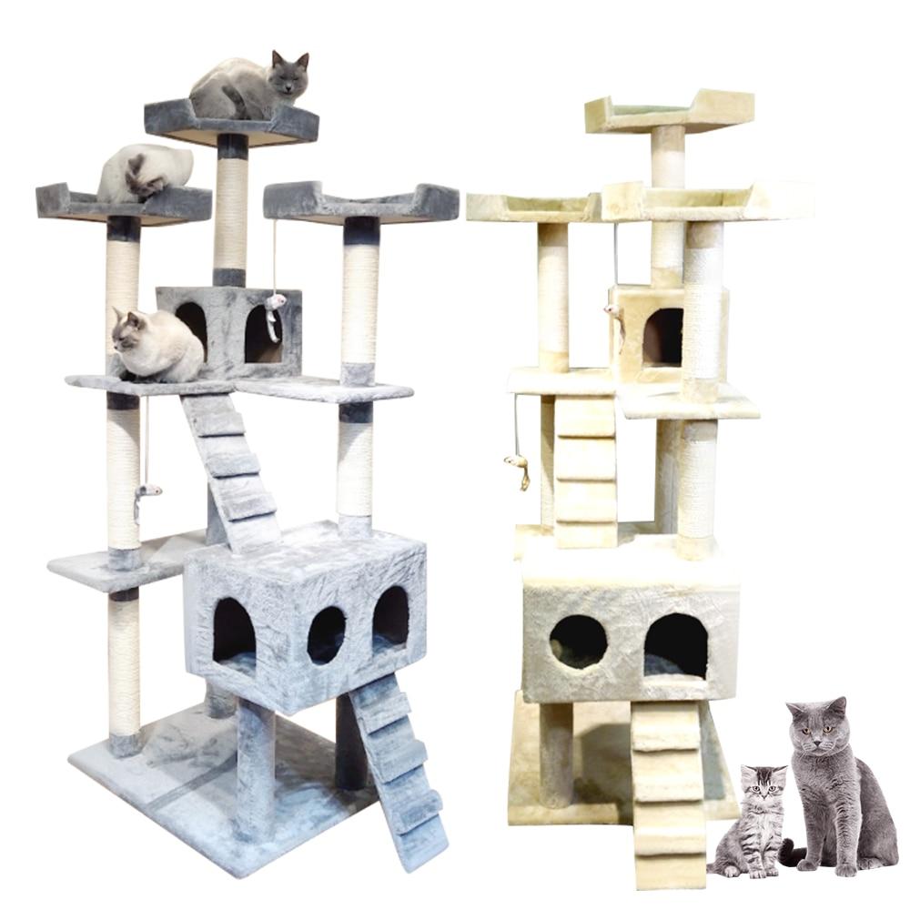 Gran marco de madera para escalar gatos, tablero de rascar, árbol de lujo, cómoda torre de gatos de mascotas para hogar, muebles con arena de nido, juguete para saltar