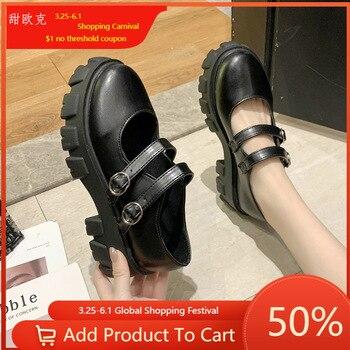 Женские туфли в японском стиле Лолита, винтажные туфли на платформе и высоком каблуке для девушек, студенческие Туфли Мэри Джейн, большой размер 39