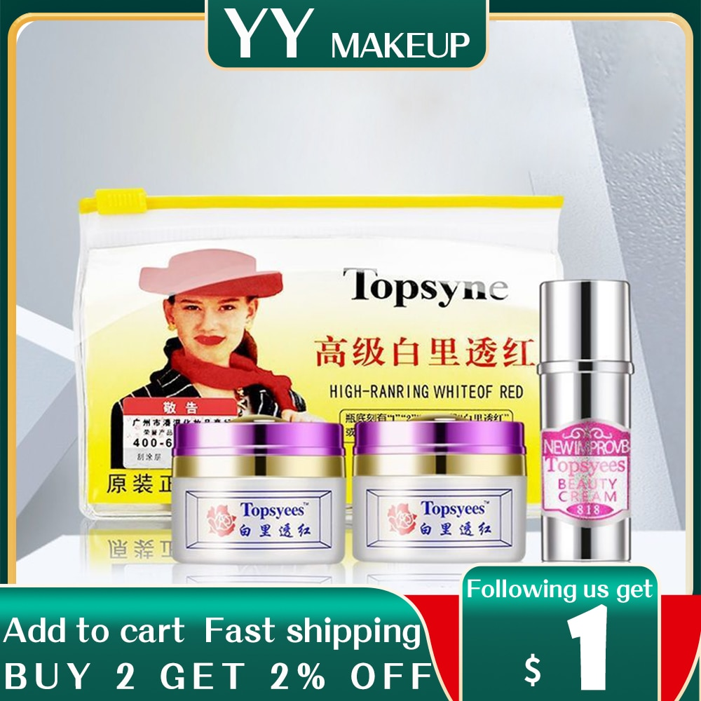 NEW Topsyees HIGH RANRING WHITE OF RED Face Care Set day cream+nigh cream+pearl cream anti freckle face care (purple cover)