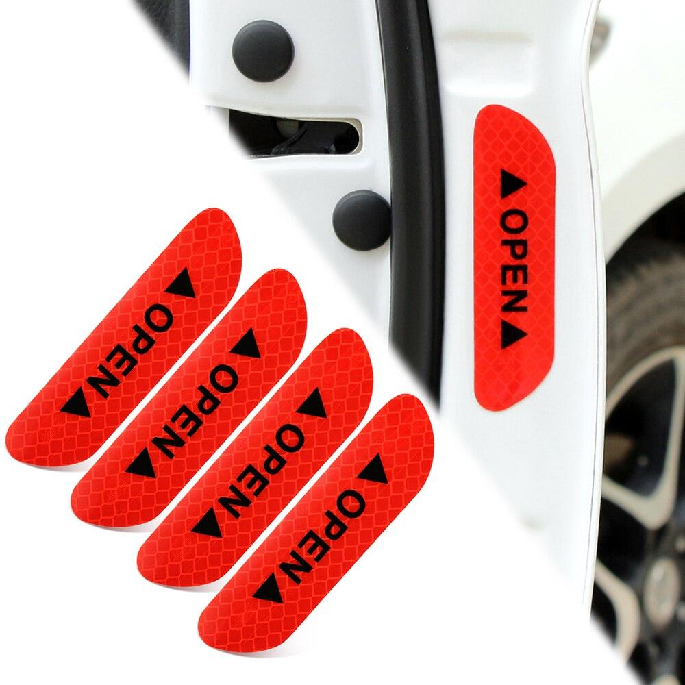 Car Open Door Safety Warning Reflective Sticker For Toyota Corolla RAV4 Subaru XV Chevrolet Cruze Aveo sail Saab Dacia