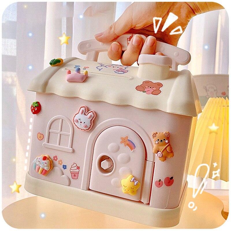 Kawaii حصالة على شكل حيوان قفل كبير المنظم صندوق تخزين هدية الفتيات لطيف توفير المال تغيير عملة الأطفال حصالة على شكل حيوان سطح المكتب الديكور