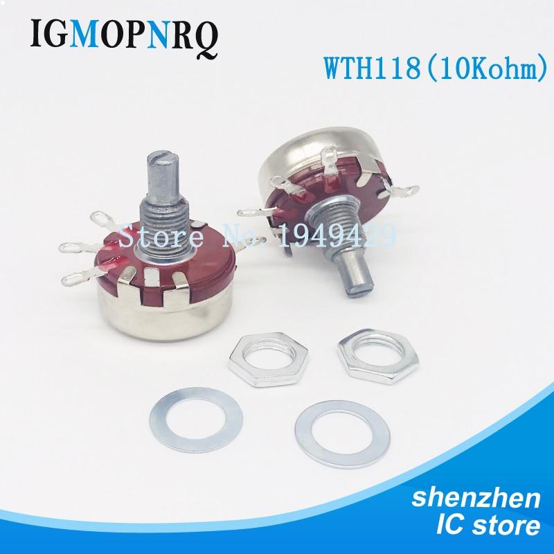 2 шт. WTH118 10K 2W 1A потенциометр Новый аутентичный переменный резистор VR сопротивление 10K Ом