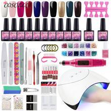 COSCELIA 36W UV LED Acryl Kit Nail art Werkzeuge Set Nagel Lampe Trockner Nagellack Kit Maniküre Set für mit Nagel Bohrer Maschine
