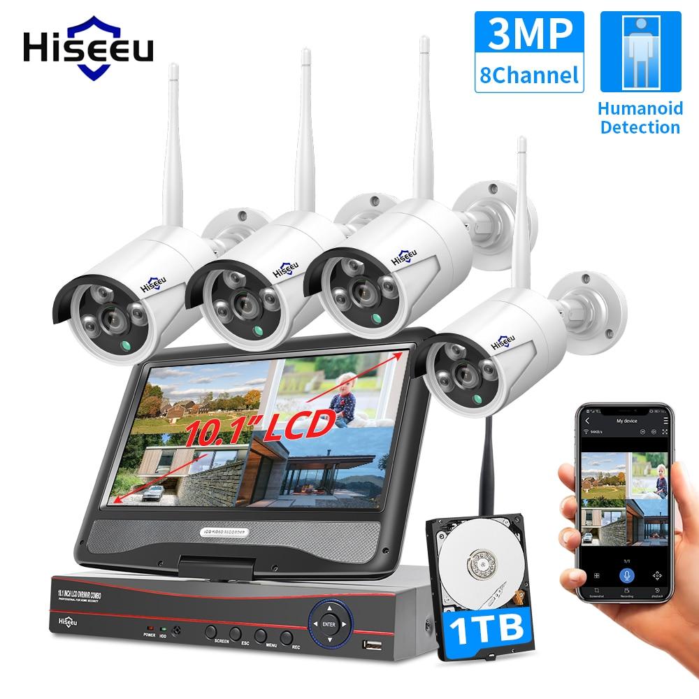 Hiseeu 3MP 8CH كاميرا لا سلكية CCTV كيت 10.1