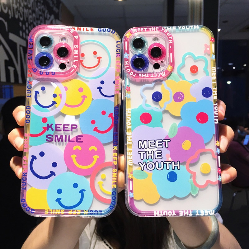 Cute Colorful Flowers Smile Clear Phone Case For iPhone 13 11 12 Pro Max X XR XS Max 7 8 Plus Transp