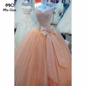 Elegant Ball Gown Beading Prom Evening Dresses Long Sweetheart Bow Spaghetti Straps Tulle Long Evening Gowns