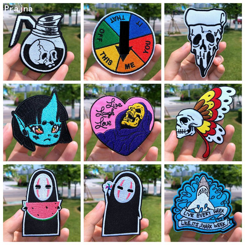 Prajna Cartoon Anime Patches Skull Butterfly Embroidery Patches For Clothing DIY Iron On Patches On Clothes Kids Black Cat Patch