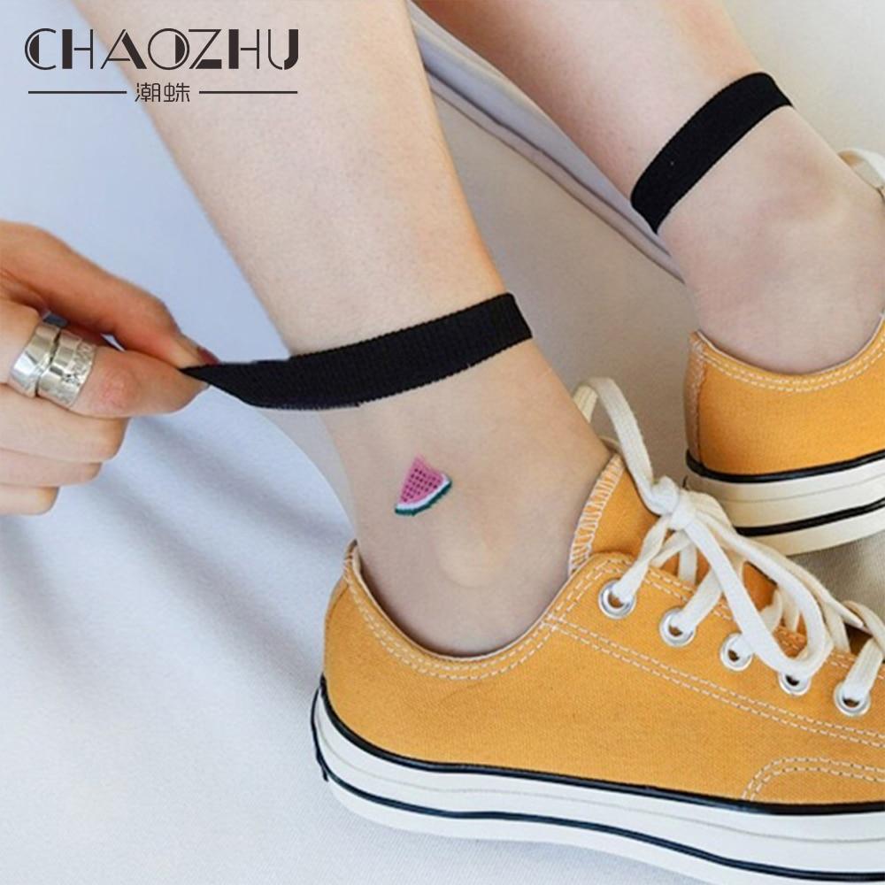 CHAOZHU femmes été pure mignon dessin animé Fruits icônes rue Shot mode pastèque fraise avocat chaussettes transparentes