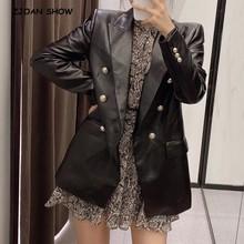 Otoño Vintage doble botonadura de imitación de cuero Blazer negro Retro mujeres bolsillos espalda Slit medio largo traje abrigo de moda