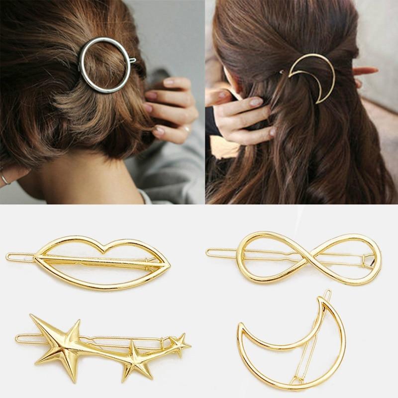 2020 Fashion Women Girls Gold/Silver Plated Metal Animal Circle Moon Hair Clips Metal Circle Hairpin