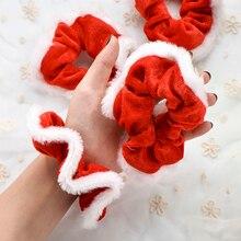 Chouchous de noël pour femmes et filles, 2 pièces/ensemble, caoutchouc élastique, ornements de noël, anneau de coiffure en velours, élastique à la mode, élastique pour queue de cheval