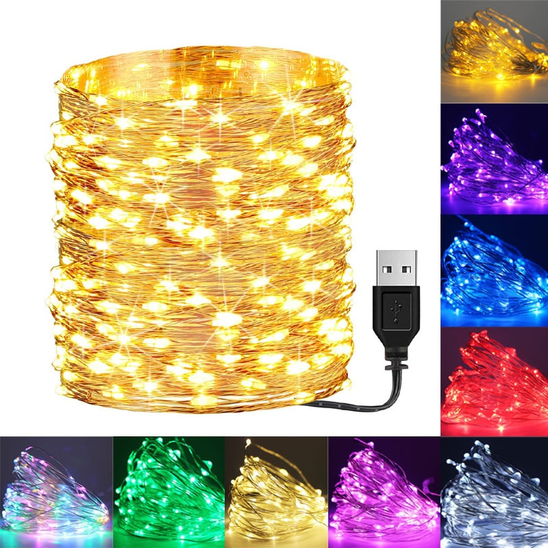 100 led string lights 10m 5m 1m usb waterproof copper silver wire garland fairy lights for christmas decoration wedding party Waterproof USB LED String Lights 5M 10M Copper Silver Wire Fairy Garland Light Lamp for Christmas Wedding Party Holiday Lighting