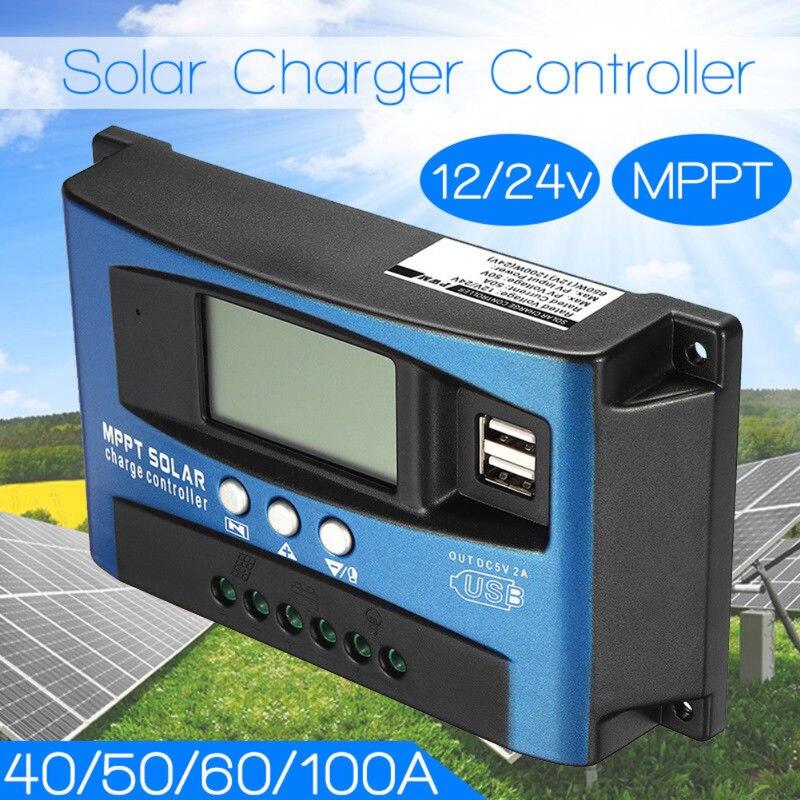 MPPT Auto Focus inteligente 30/40/50/60/100A Controlador Solar 12V24V carga y corriente de descarga controlador de pantalla en tiempo Real