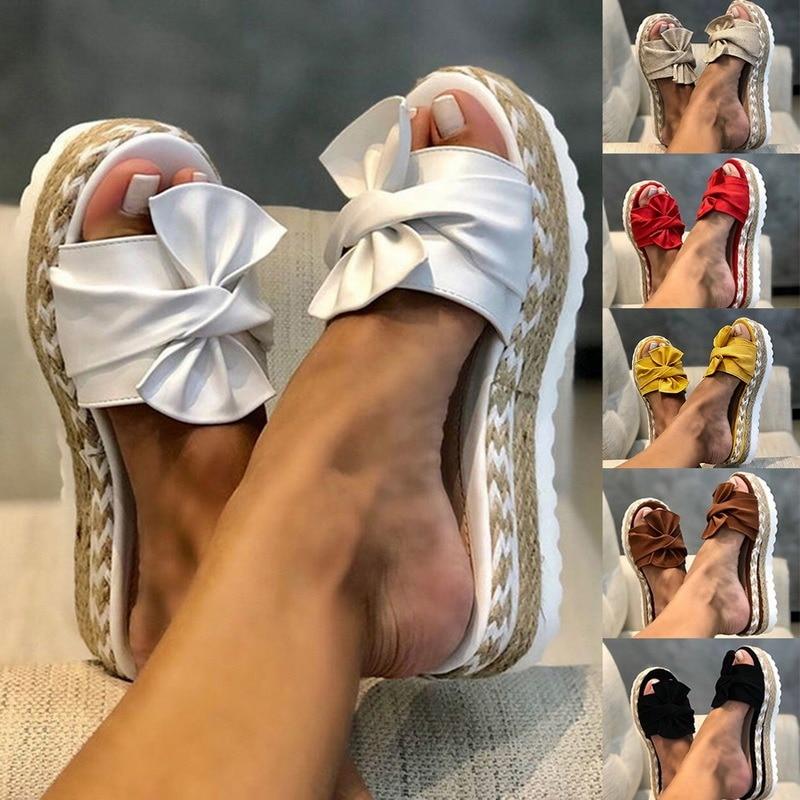Women Sandals Platform Sandals Shoes Women Bow 2021 Summer Sandals Slipper Indoor Outdoor Flip-flops Beach Shoes Female Slippers
