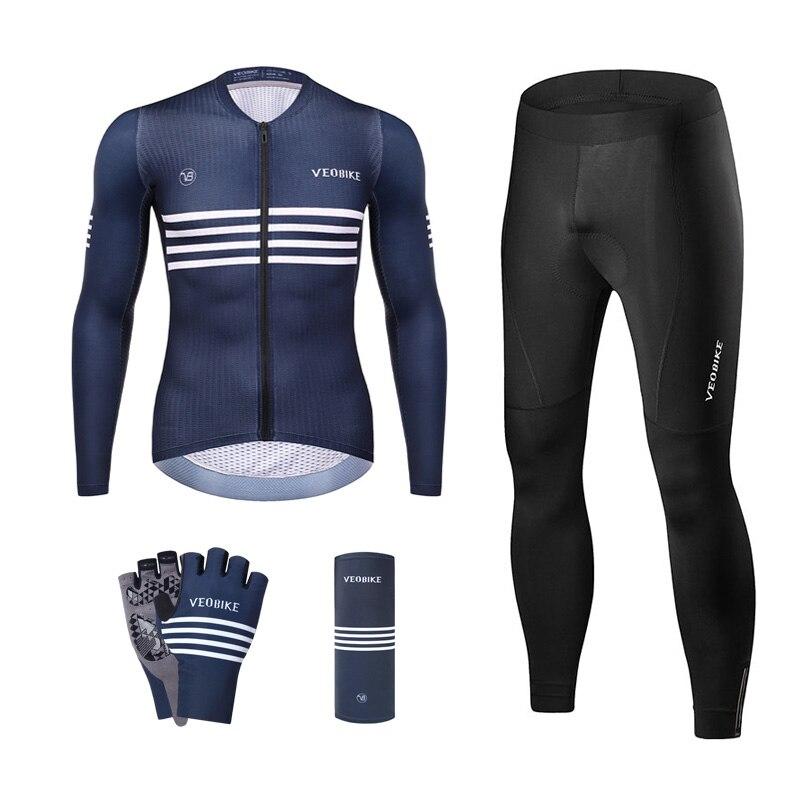 Top Grade Summer Pro Team Cycling Jersey Set Men Long Sleeve Mtb Road Bike Skinsuit Racing Sportswear Quick-Dry Bicycle Clothing