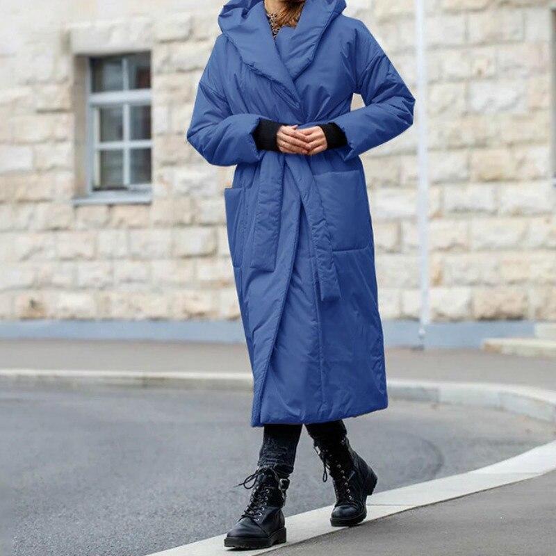 Женская Длинная толстовка с капюшоном, свободная теплая хлопковая куртка с карманами, большие размеры, зимний сезон 2021