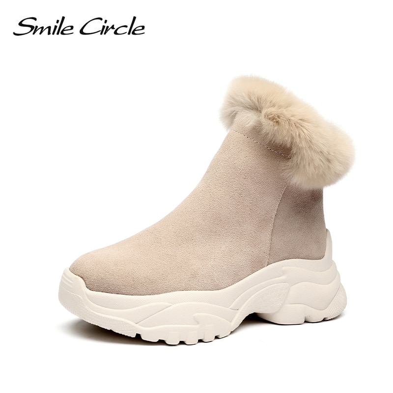 Smile Circle Suede Botines de Cuero zapatos de plataforma plana de las mujeres de felpa de invierno mantener caliente botas cortas de fondo grueso botas de nieve de las señoras boo