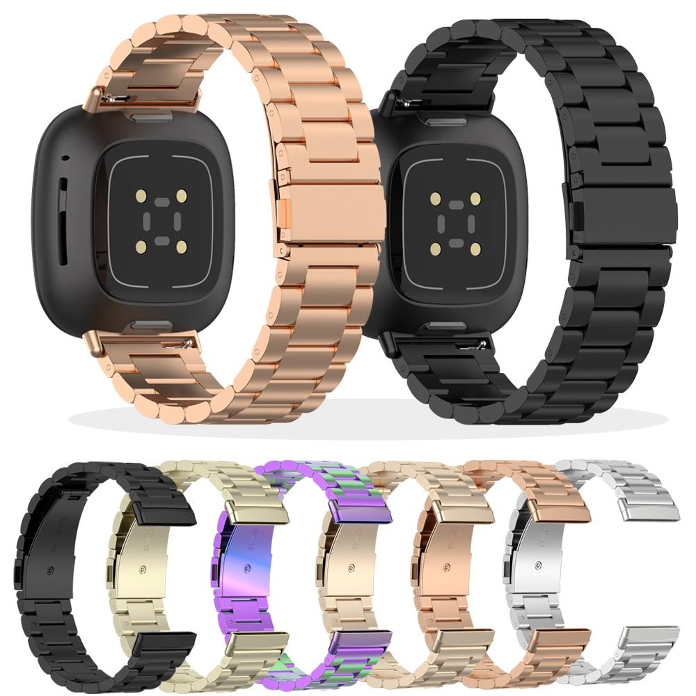 Correia de Aço Pulseira para Fitbit Pulseiras de Pulso de Aço Pulseira para Versa3 Nova Versa Acessórios Relógio Inteligente Inoxidável 3