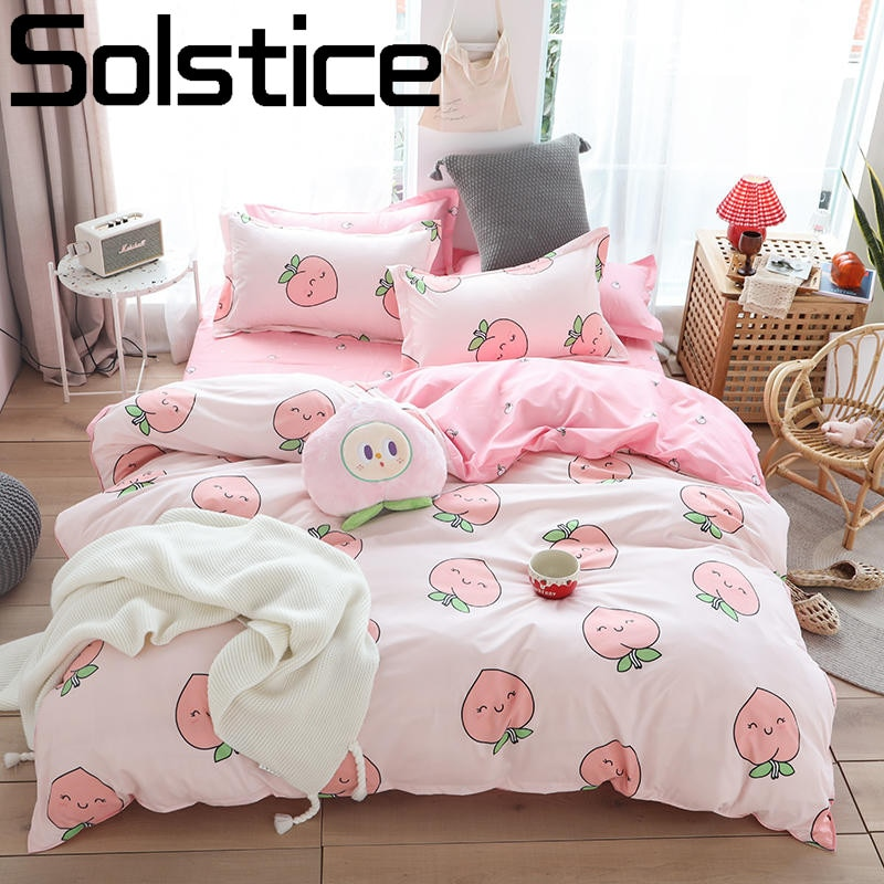 Solstice Home Textile Girl Kids Bedding Set Honey Peach Pink Duvet Cover Sheet Pillowcase Woman Adult Bed Linens King Queen Full