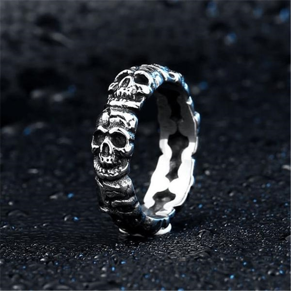 Retro Popular Fashion Skull Ring Men's Punk Fashion Men's Dress Hip Hop Party Accessories Jewelry Gifts Wholesale