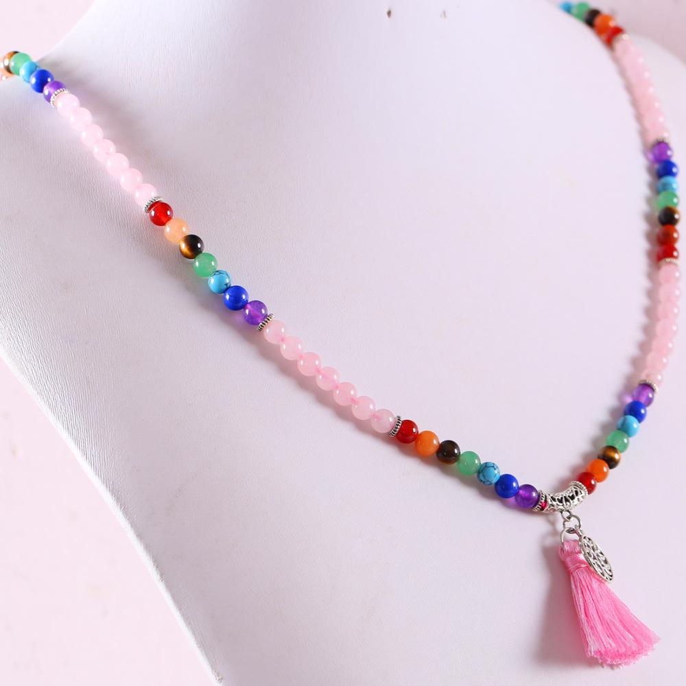 "Collar largo pulsera gema Natural Mala abalorio de piedra redondo borla 7 Chakra cristal rosa Reiki Boho collar 27 ""1 Uds H074"