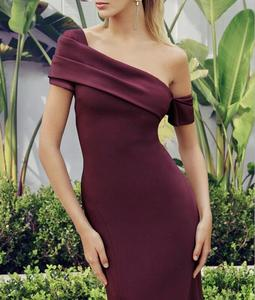 Chic Lady Sexy Off Shoulder Burgundy Knee Length Bandage Dress 2020 Designer Bodycon ElegaEvening Party Dress Vestido