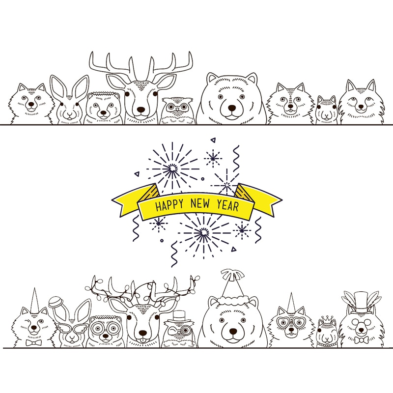 AZSG Happy New year / Animals Clear Stamps For DIY Scrapbooking Decorative Card making Crafts Fun Decoration Supplies 13*13cm
