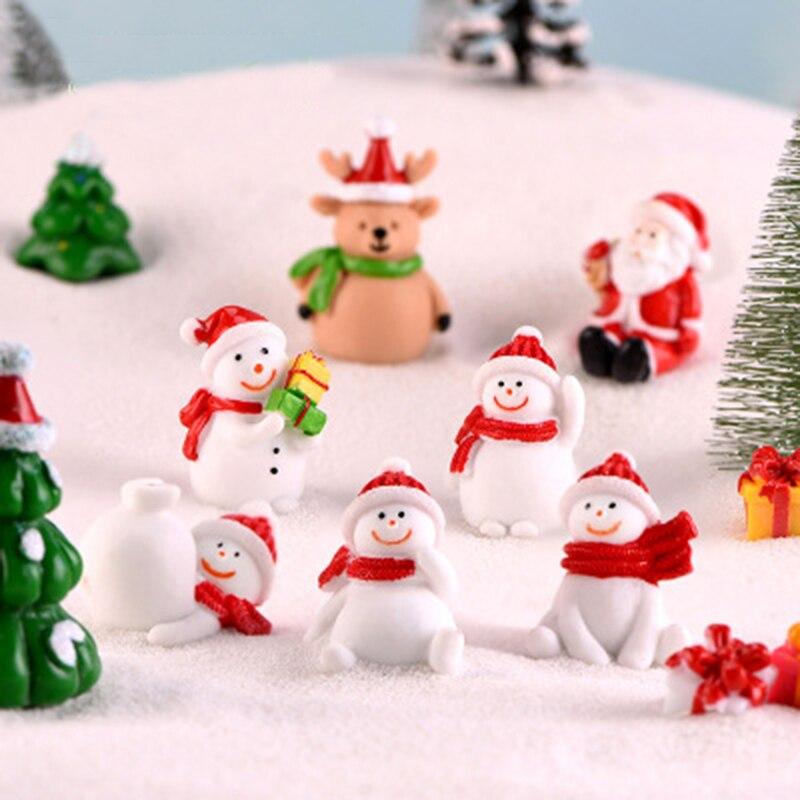 Сказочный Сад Микро пейзаж Санта Клаус Снеговик Рождественская елка украшения мини статуя фигурки Ремесла Рождество Зима горшечный Декор