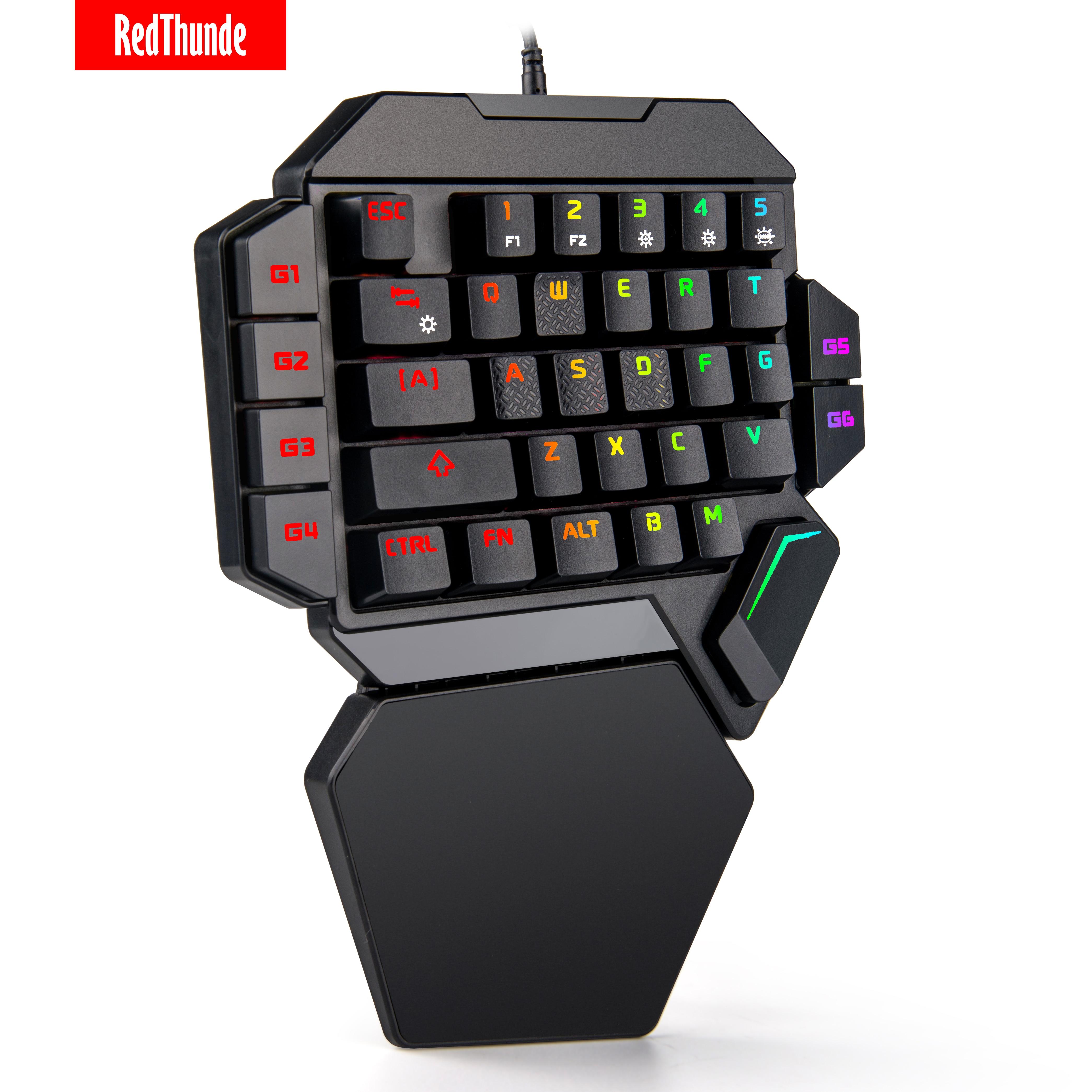 RedThunder-لوحة مفاتيح ميكانيكية صغيرة محمولة بيد واحدة ، 35 مفتاحًا ، تعمل مع PS4 ، Xbox One ، الكمبيوتر المحمول ، ألعاب الكمبيوتر